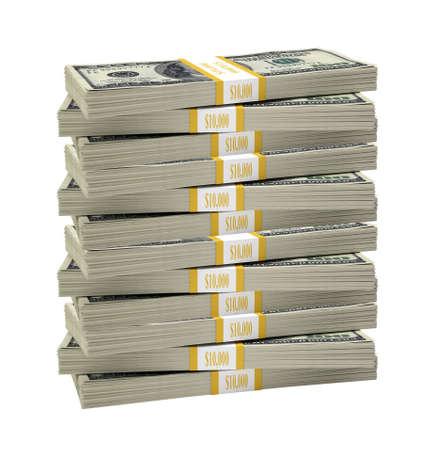 dollar: Grande pila di dollaro su sfondo bianco isolato Archivio Fotografico