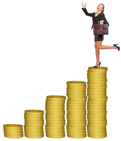 businesslady: Businesslady with suitcase and mug standing on gold coins stack. Isolated white background Stock Photo