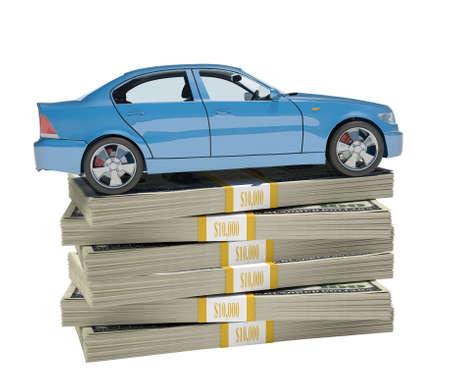 Car on bundle of money on isolated white background Stock Photo