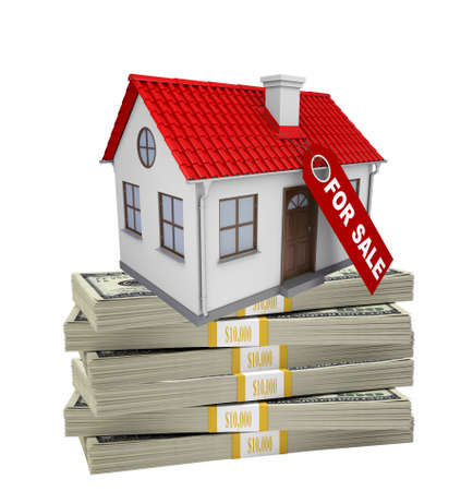 coziness: House for sale on pile of money on isolated white background Stock Photo