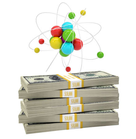 white atom: Atom structure on stack of money on isolated white background Stock Photo