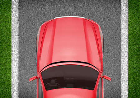 tailpipe: Red car on grey and green texture background, top view Stock Photo
