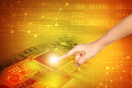 motherboard: Humans finger touching motherboard on abstract colorful background with numbers Stock Photo
