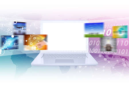 numbers abstract: Laptop with blank screen and wide virtual tape with colorful pictures on abstract background with world map