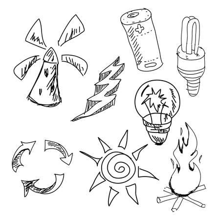 energy picture: Drawn graphic pictures on isolated white background. Vector illustration Illustration