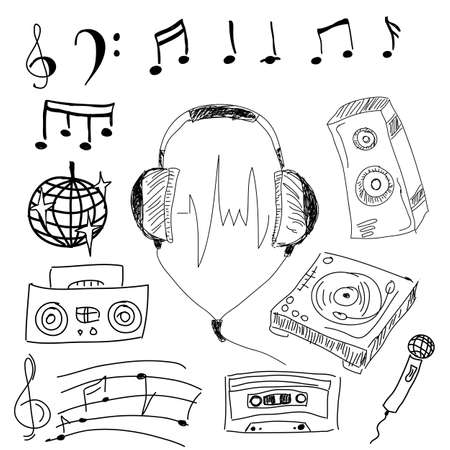 head phones: Image with graphic musical stuff on isolated white background. Vector illustration