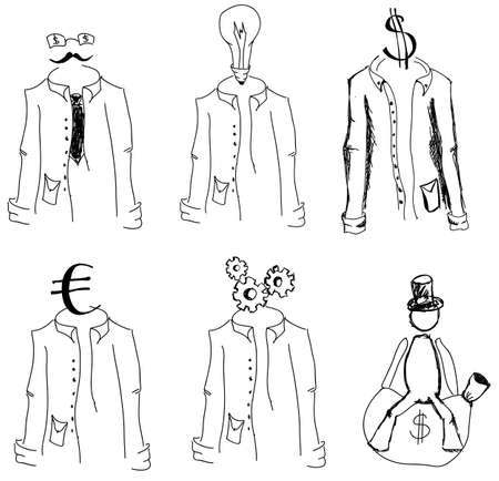 euro screw: Drawn suits and man on isolated white background. Vector illustration