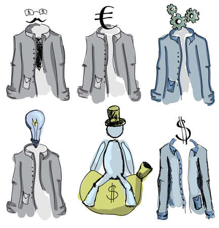 euro screw: Drawn colored suits and man on isolated white background. Vector illustration
