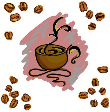 コーヒーカップ: 分離の白い背景の上のコーヒー カップに色のイメージ。ベクトル図