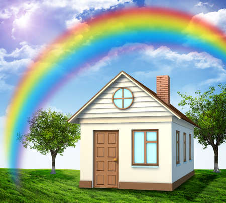 coziness: House on green field with rainbow and lawn Stock Photo