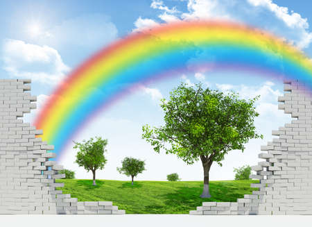 broken wall: Landscape with rainbow, green field and trees in broken wall