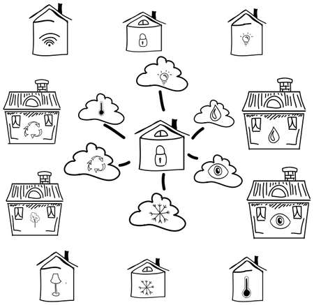 isolated on white: Drawn house with clouds on isolated white background. Vector illustration