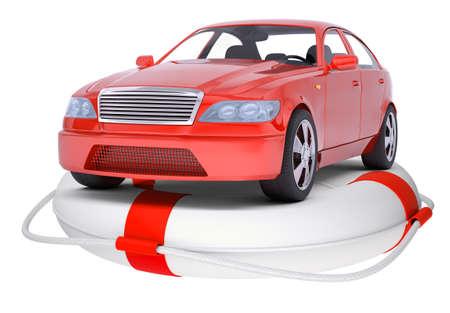 lashing: Red car on ring buoy on isolated white background Stock Photo