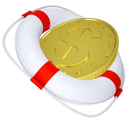flotation: Lifebuoy with golden dollar on isolated white background