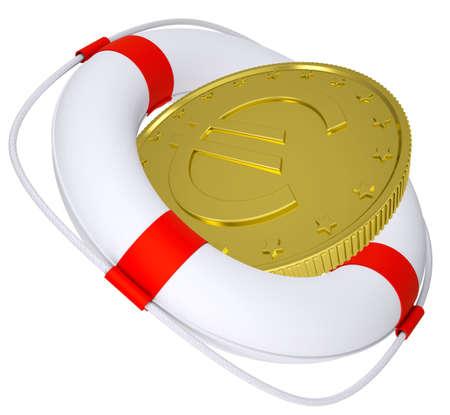 flotation: Lifebuoy with golden euro on isolated white background