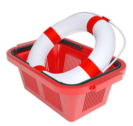 lashing: Lifebuoy in shopping basket on isolated white background