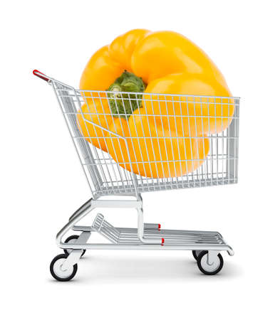 bellpepper: Yellow bell pepper in shopping cart on isolated white background Stock Photo