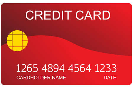 cardholder: Red credit card with numbers and cardholder name