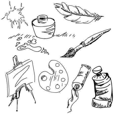 stuffs: Drawn art stuff on isolated white background. Vector illustration