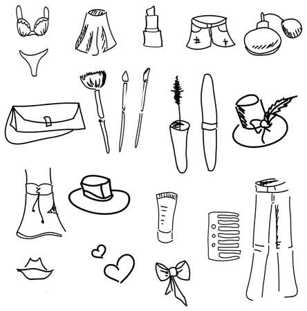 undergarment: Drawn womans stuff on isolated white background. Vector illustration Illustration