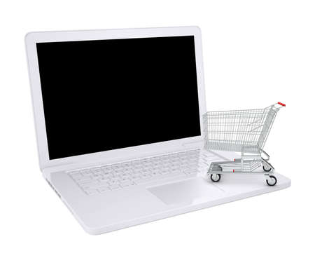 shopping cart isolated: Shopping cart on laptop with black screen on isolated white background