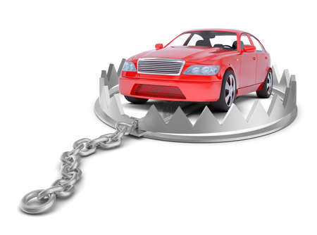 bear trap: Car in bear trap on isolated white background, close-up view Stock Photo