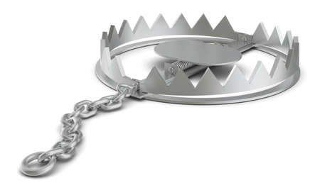 bear trap: Bear trap on isolated white background, close-up view Stock Photo