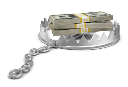 bear trap: Stack of money in bear trap on isolated white background, close-up view Stock Photo