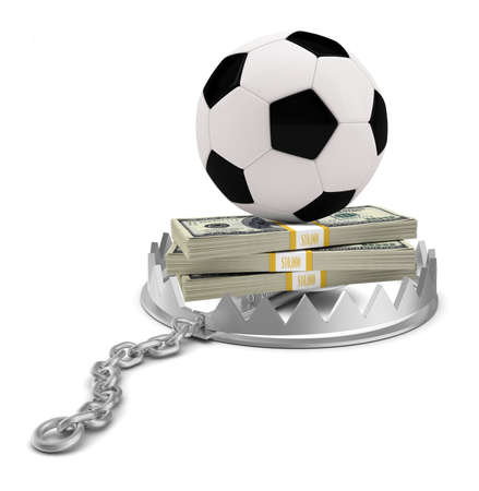 bear trap: Football and money in bear trap on isolated white background, close-up view Stock Photo