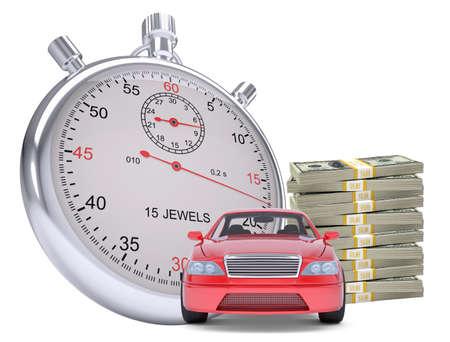 dinero: Temporizador con el coche y la pila de dinero en el fondo blanco aislado