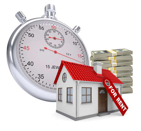 house for rent: Timer with house for rent and stack of money on isolated white background