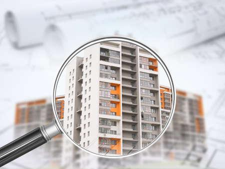 Edifici colorati sotto la lente di ingrandimento con correnti d'aria sfondo