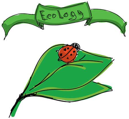 ladybird: Drawn ladybird on leaf with word ecology on white background Illustration