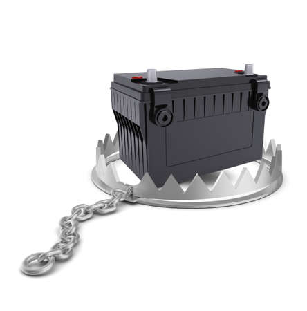 bear trap: Battery in bear trap on isolated white background, close-up view