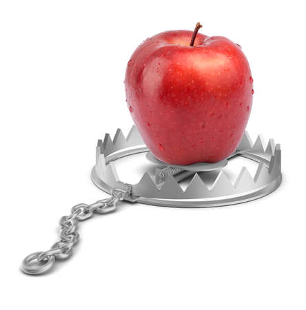 bear trap: Apple in bear trap on isolated white background, close-up view Stock Photo