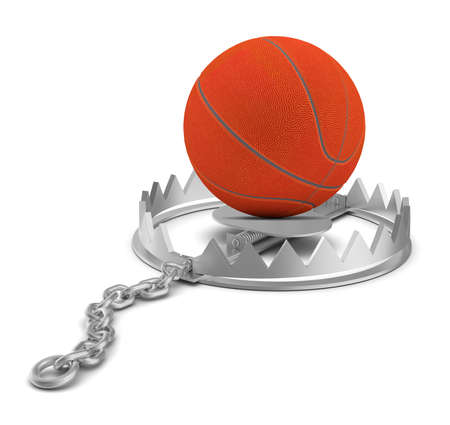 bear trap: Basketball in bear trap on isolated white background, close-up view