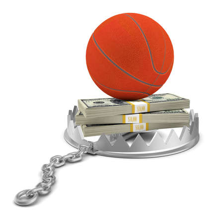 bear trap: Basketball with money in bear trap on isolated white background, close-up view