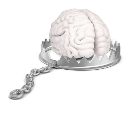 bear trap: Brain in bear trap on isolated white background, close-up view