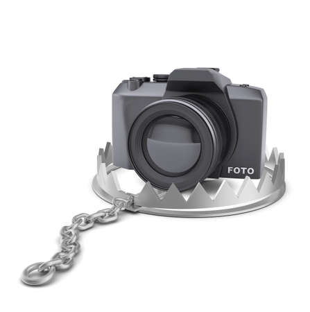 bear trap: Camera in bear trap on isolated white background, close-up view Stock Photo