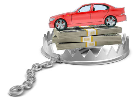 bear trap: Car with money in bear trap on isolated white background, close-up view