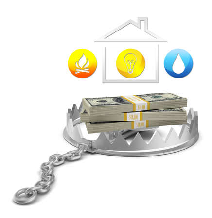 bear trap: Cash and house icon in bear trap on isolated white background, close-up view