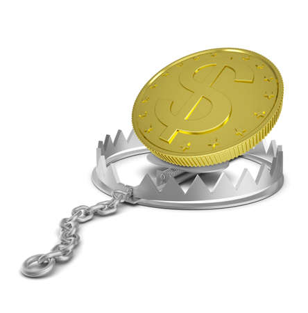 bear trap: Dollar coin in bear trap on isolated white background, close-up view