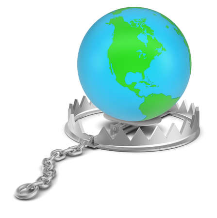 bear trap: Earth in bear trap on isolated white background, close-up view Stock Photo