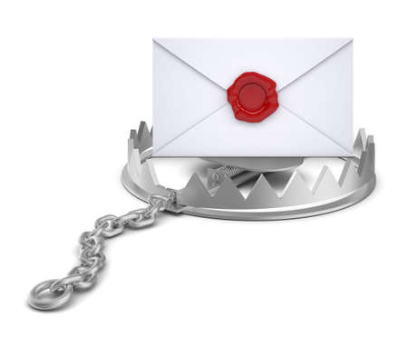 bear trap: Envelope in bear trap on isolated white background, close-up view
