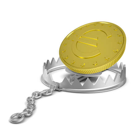 bear trap: Euro coin in bear trap on isolated white background, close-up view