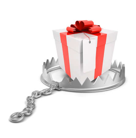bear trap: Gift in bear trap on isolated white background, close-up view