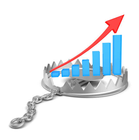 bear trap: Growth graph in bear trap on isolated white background, close-up view
