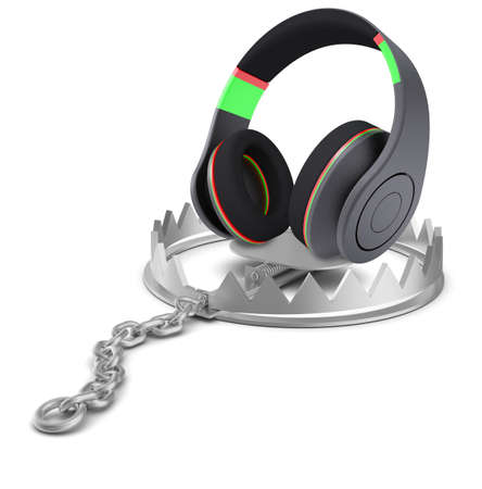 bear trap: Headphones in bear trap on isolated white background, close-up view