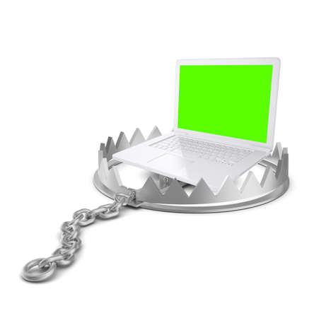 bear trap: Laptop in bear trap on isolated white background, close-up view