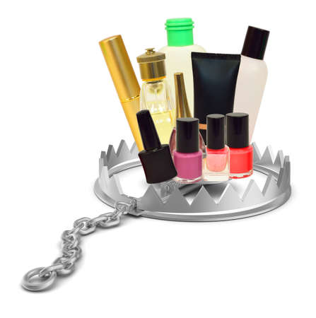 bear trap: Make up stuff in bear trap on isolated white background, close-up view